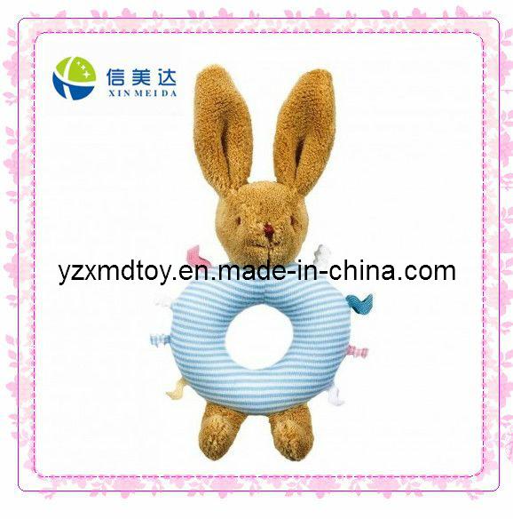 Plush Blue Rabbit Rattle Baby Toy (XMD-0089C)