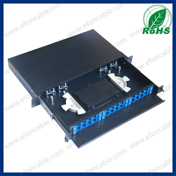 1u 19-Inch 12/24 Port Sc/FC/LC Rack Mount Fiber Optic Patch Panel