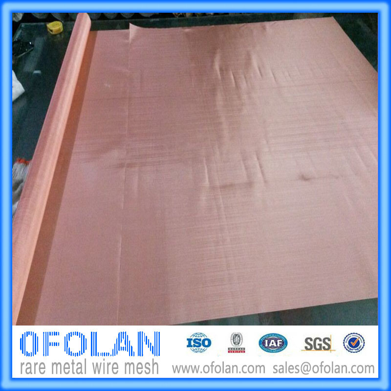 Hole Size 1.0mm (200mesh) High Quality Electronic Signal Shielding Red Copper  Wire Mesh/Cloth 1000mm*1000mm Stock Supply