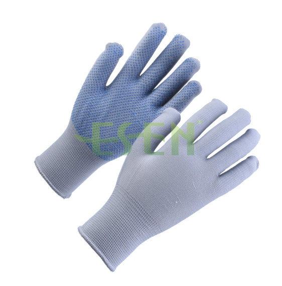 Dark Purple PVC Dotted Cotton Knitted Industrial Hand Safety Work Gloves
