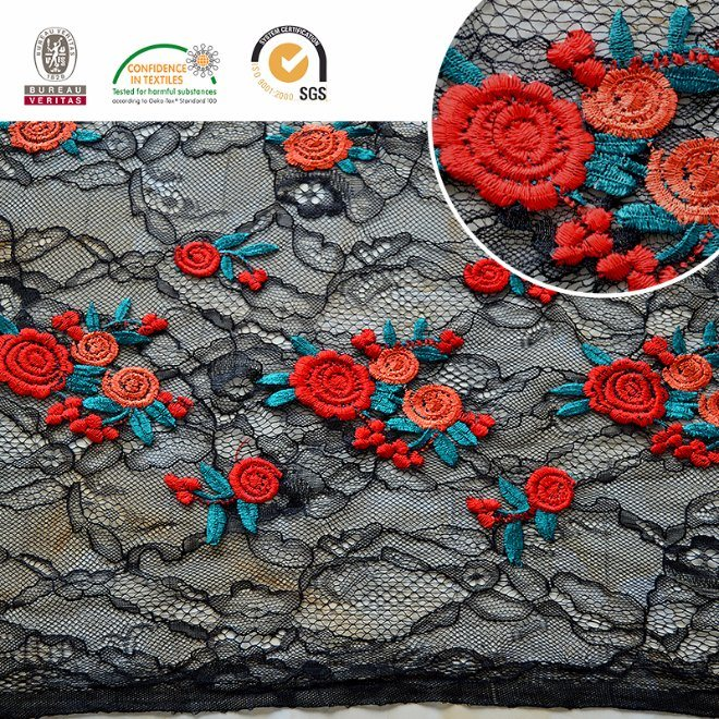 Sexy 2017 Black&Red Flower Fashion Lace Fabric C10002