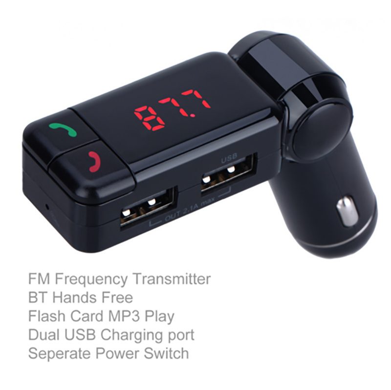 Hands-Free Bluetooth Car Kit MP3 Player USB Disk Aux FM Transmitter Car Charger