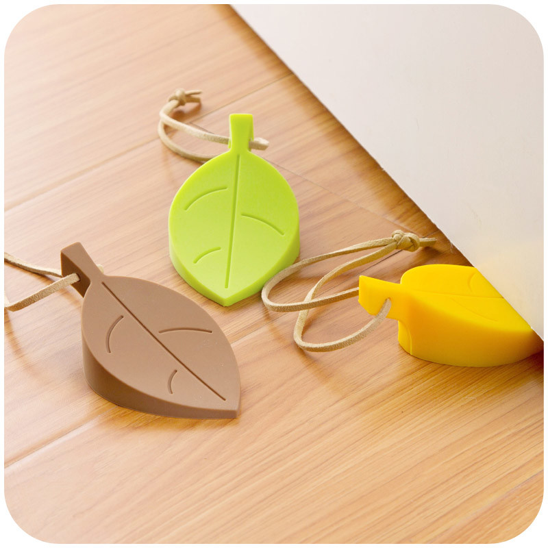 Promotional Creative Leaf Shape Baby Hand Protection Silicone Door Stopper with Hang Rope