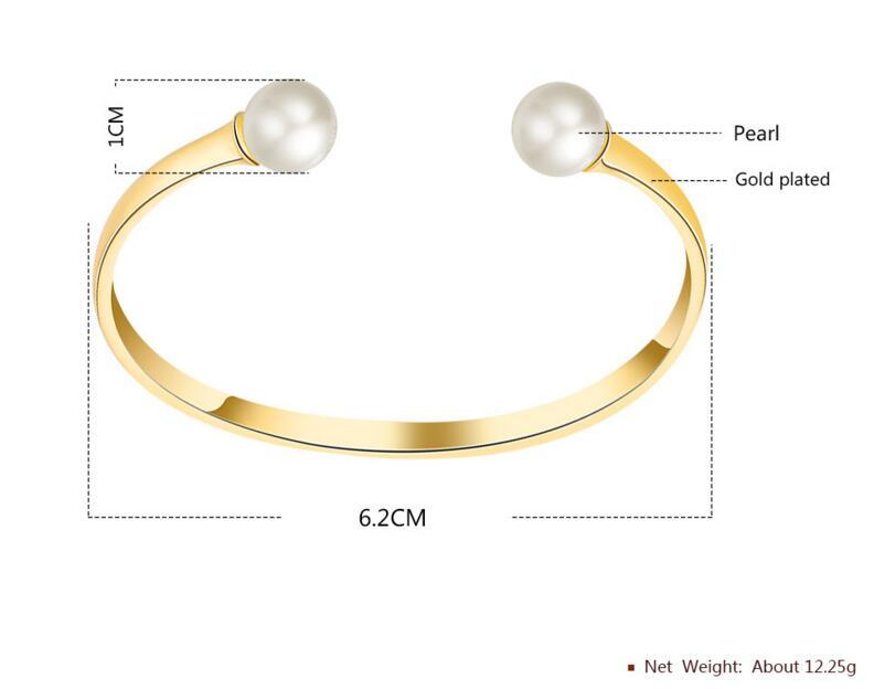 Fashion Women Stainless Steel Pearl Jewelry Bracelet Cuff Bangle