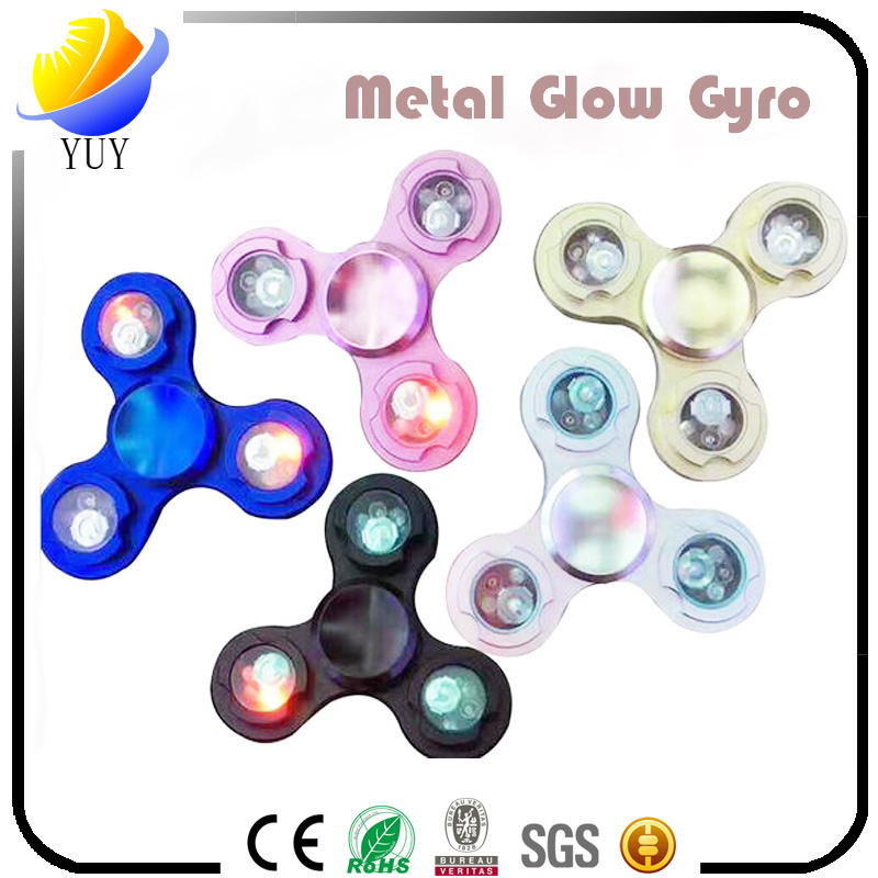 2017 Hot Sell and Creative Metal and ABS Plastic LED Decompression Gyroscope of Fingertip Gyro and Hand Spinner and Fidget Spinner for Promotional Toys