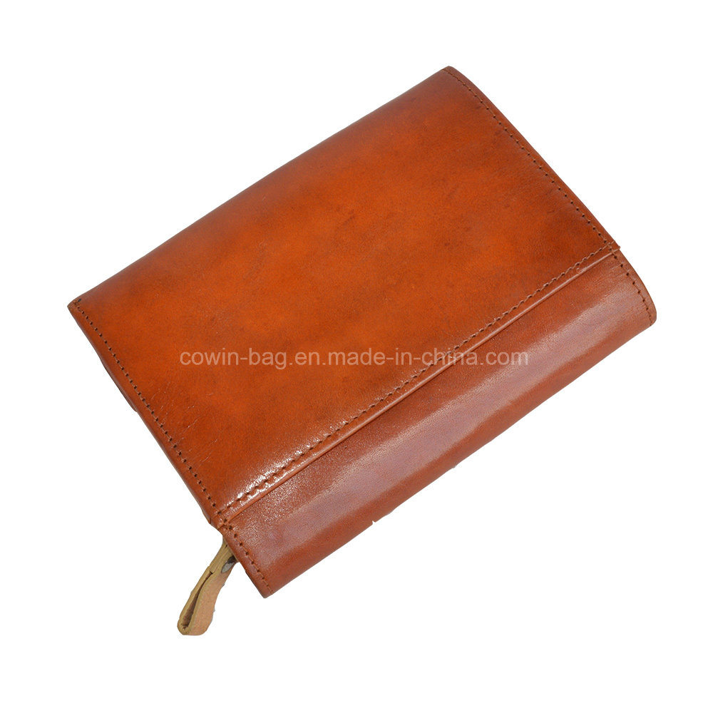 Tri-Fold Style Men′s Full-Grain Leather Made Wallet