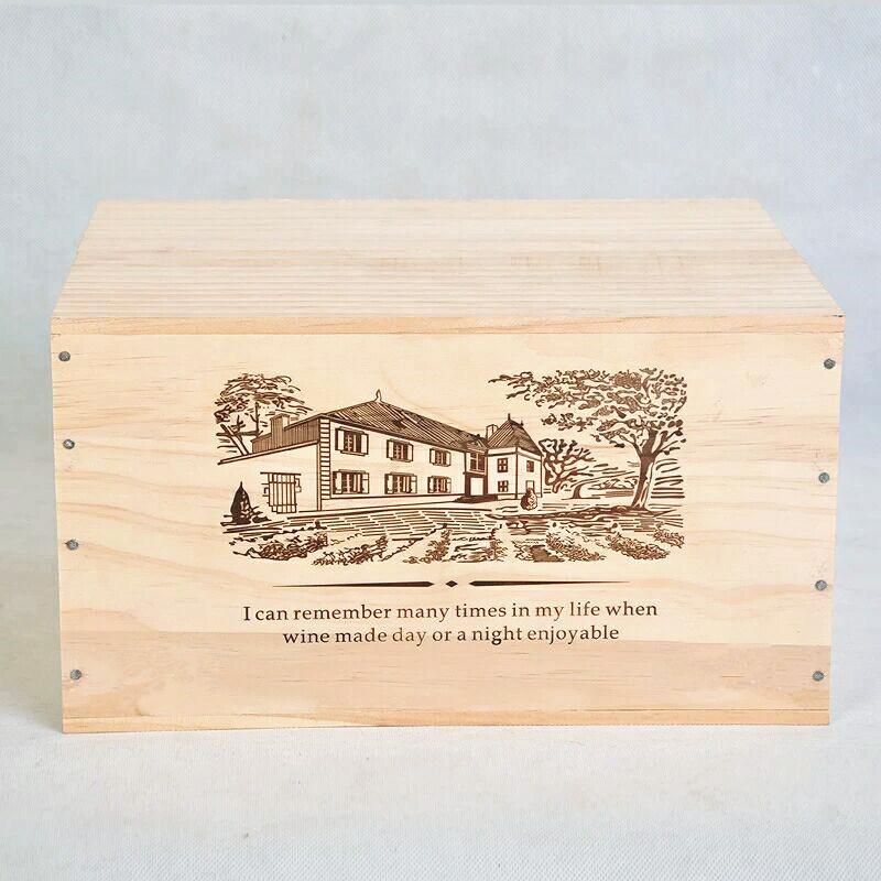 Good Quality Pine Wood Box for 6 Bottles Wine, 25 Oz. /Bottle