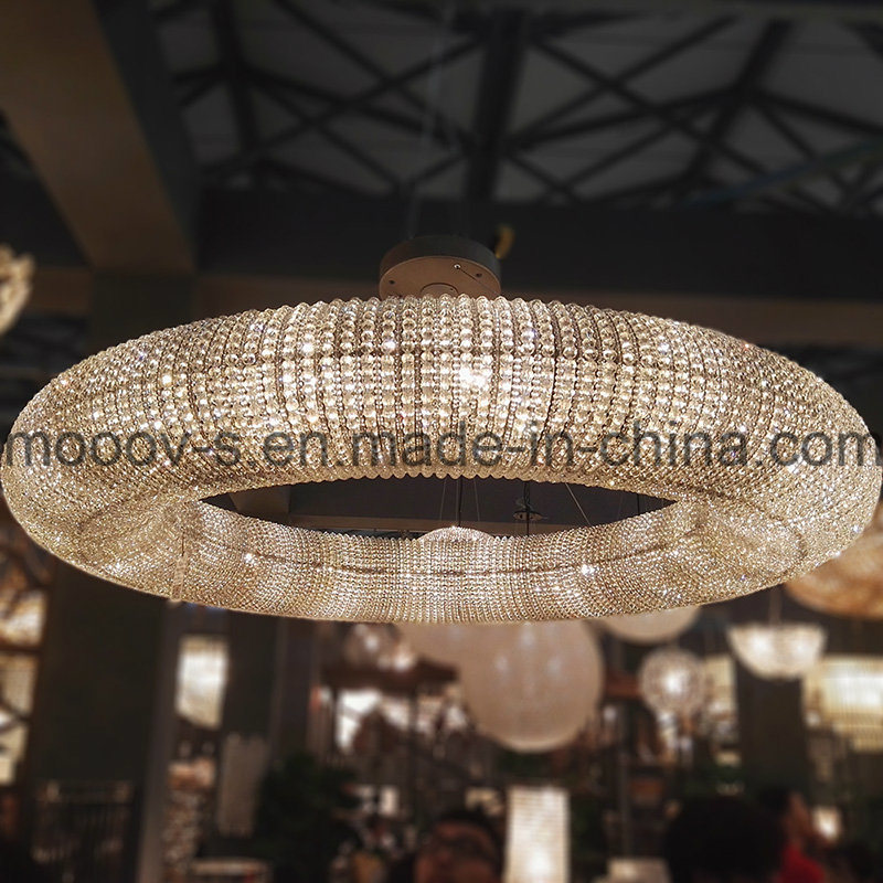 Modern Large and Luxury Round Ring LED Egyptian Crystal Chandelier for Hotel