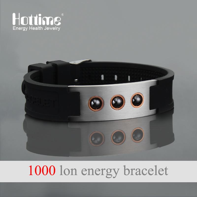 Fashion Design Hematite Beads bracelet with Negative Ion Silicone (20010)