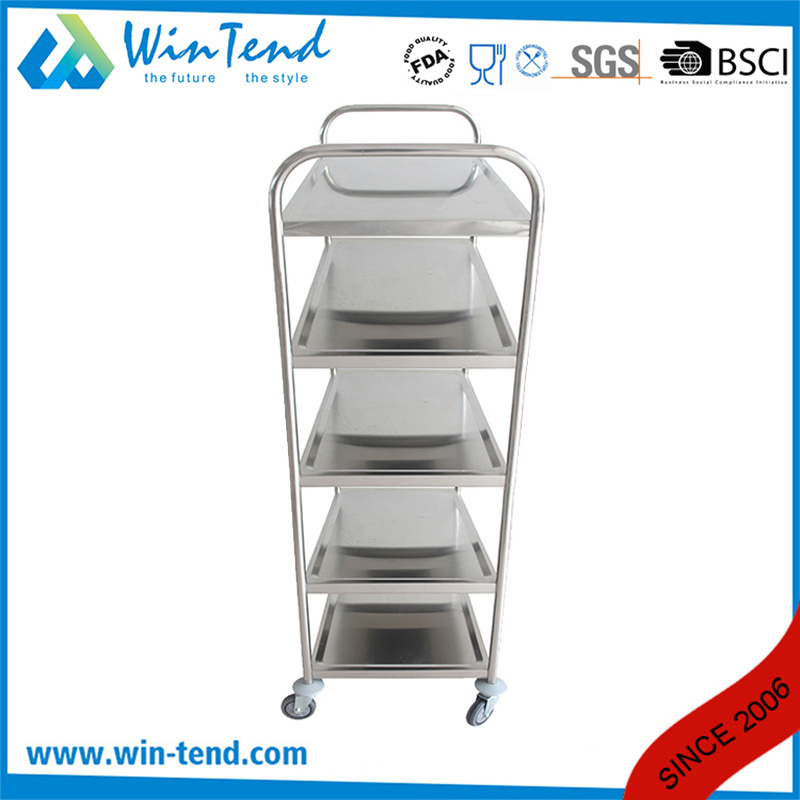 Designed Fashion 5 Tiers Round Tube Restaurant Vegetable Service Trolley