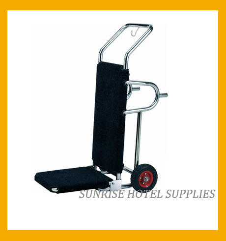 Hotel Lobby Stainless Steel Luggage Cart with Brushed Finish