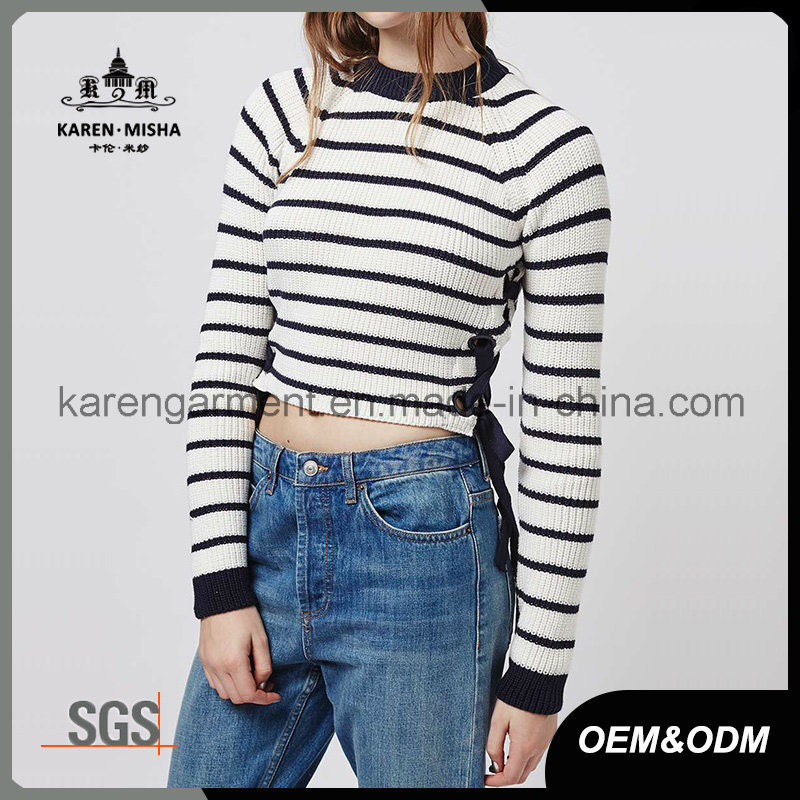 Ladies Side Tie Striped Jumper Fashion Clothes