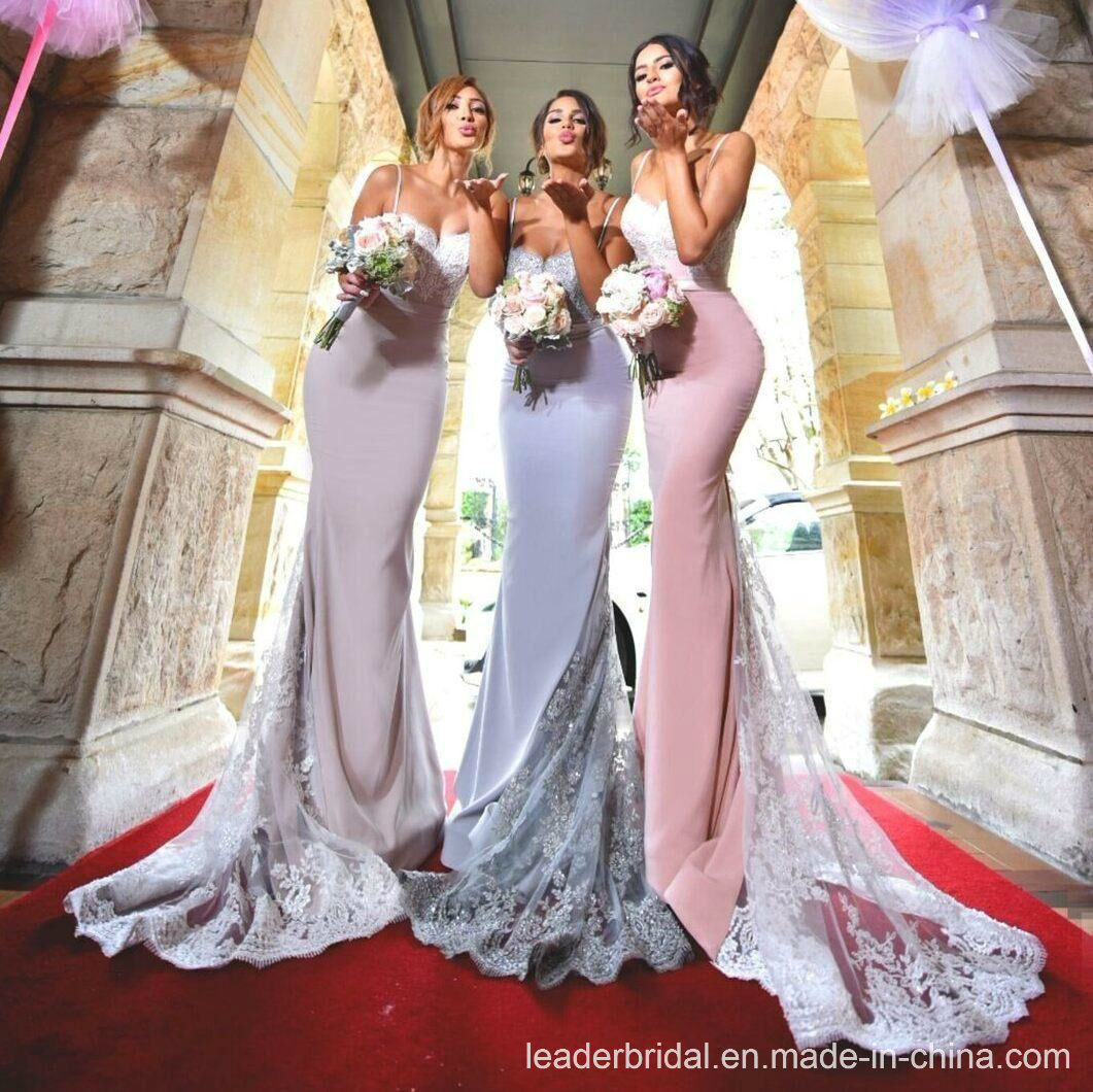 Spaghetti Straps Party Prom Gown Satin Lace Bridesmaid Evening Dress B22