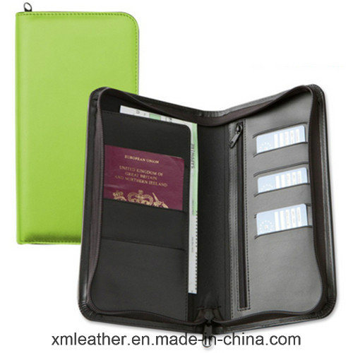 Zipper Closure Passport Wallet Leather Name Card Holder