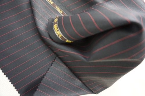 Black&Red Streak Wool Fabric for Suit