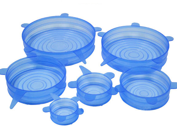 Microwave Safe Flexible 8 Packs Reusable Airtight Silicone Stretch Food Lids for Pan, Bowl