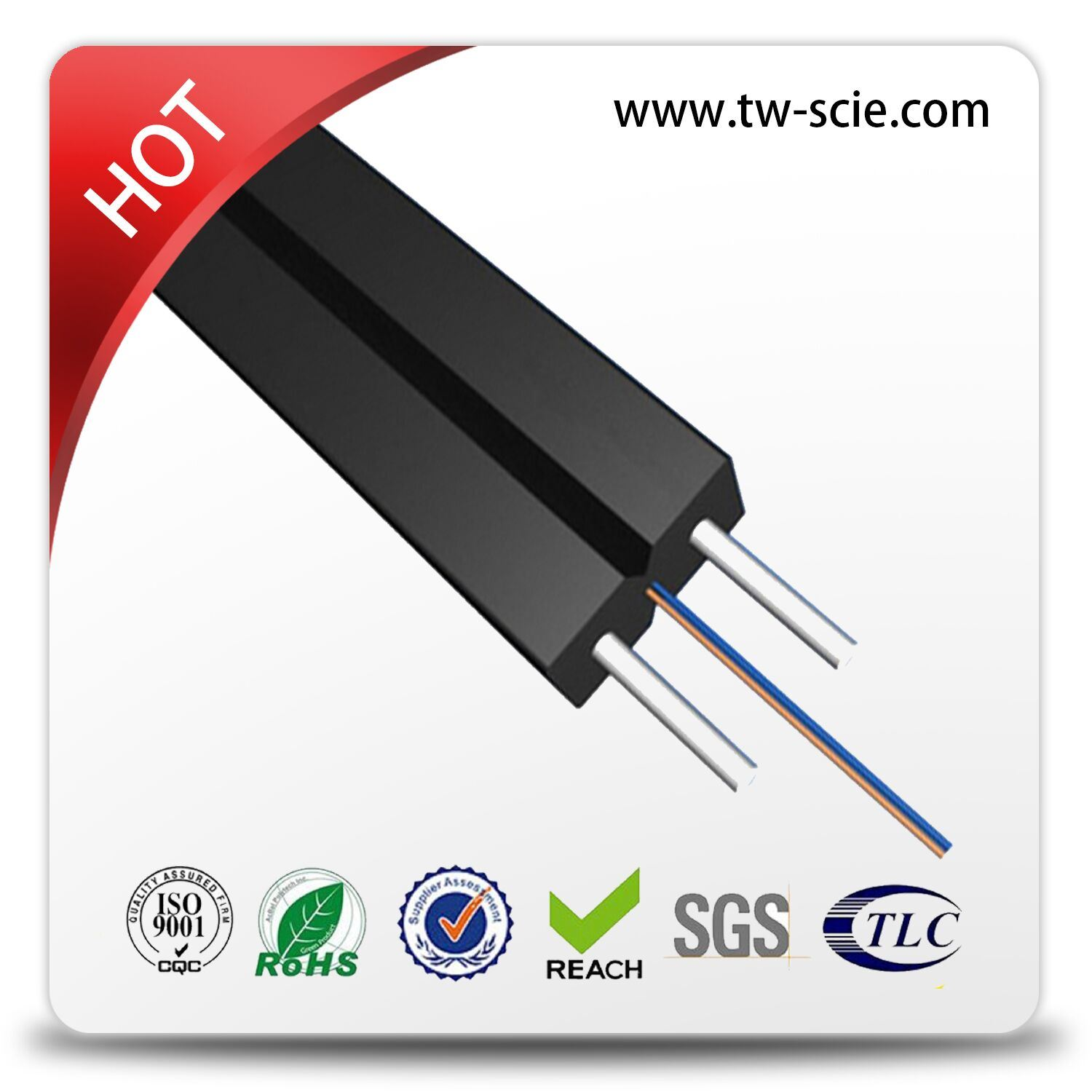 LSZH Sheath FTTH Optical Fiber Cable with Steel Wire FRP Strengthen