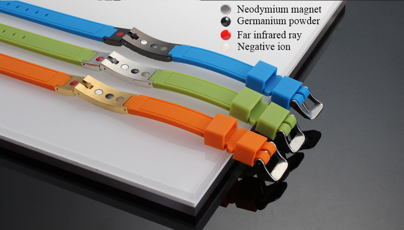Top Quality Negative Ion Rubber Bracelet with 4 Crystal (20014)