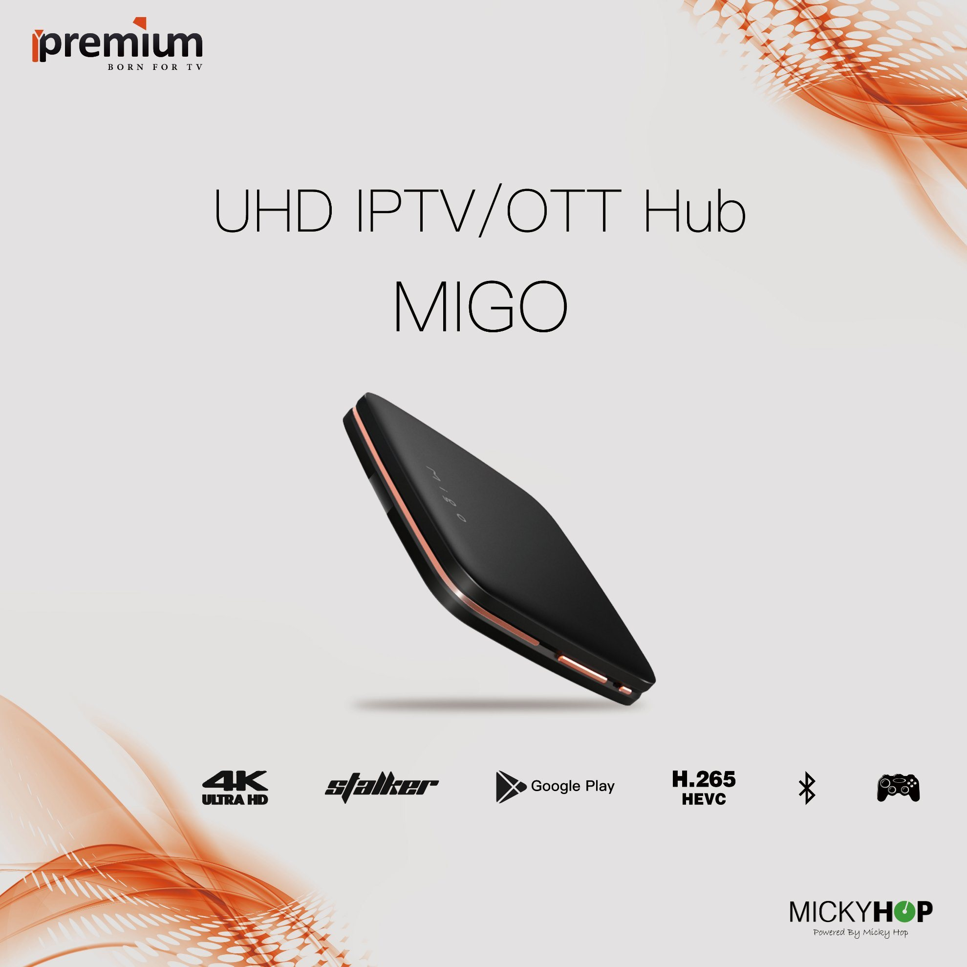 Ipremium Migo Android 6.0 4K Google Play Store 1GB RAM+ 8GB ROM Middleware Stalker IPTV Streaming Box