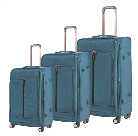 PP Complex Luggage with 1680d Soft Fabric 3 in One Set with Zipper