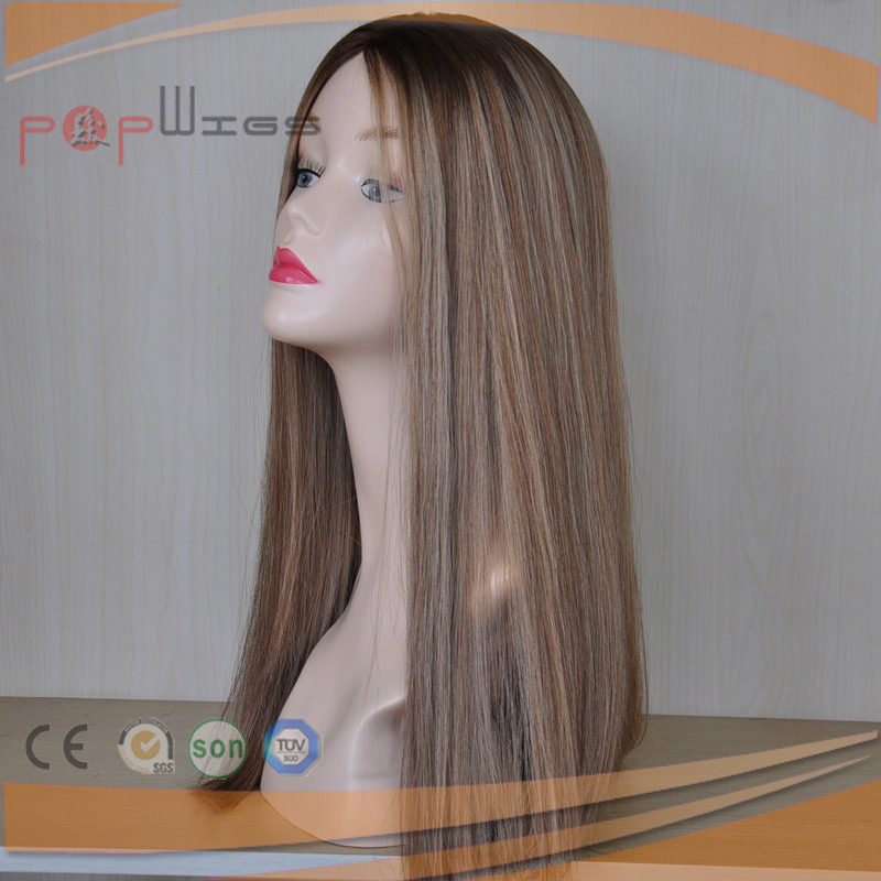 Long Human Hair Blond Omber Color Silk Top Women Wig