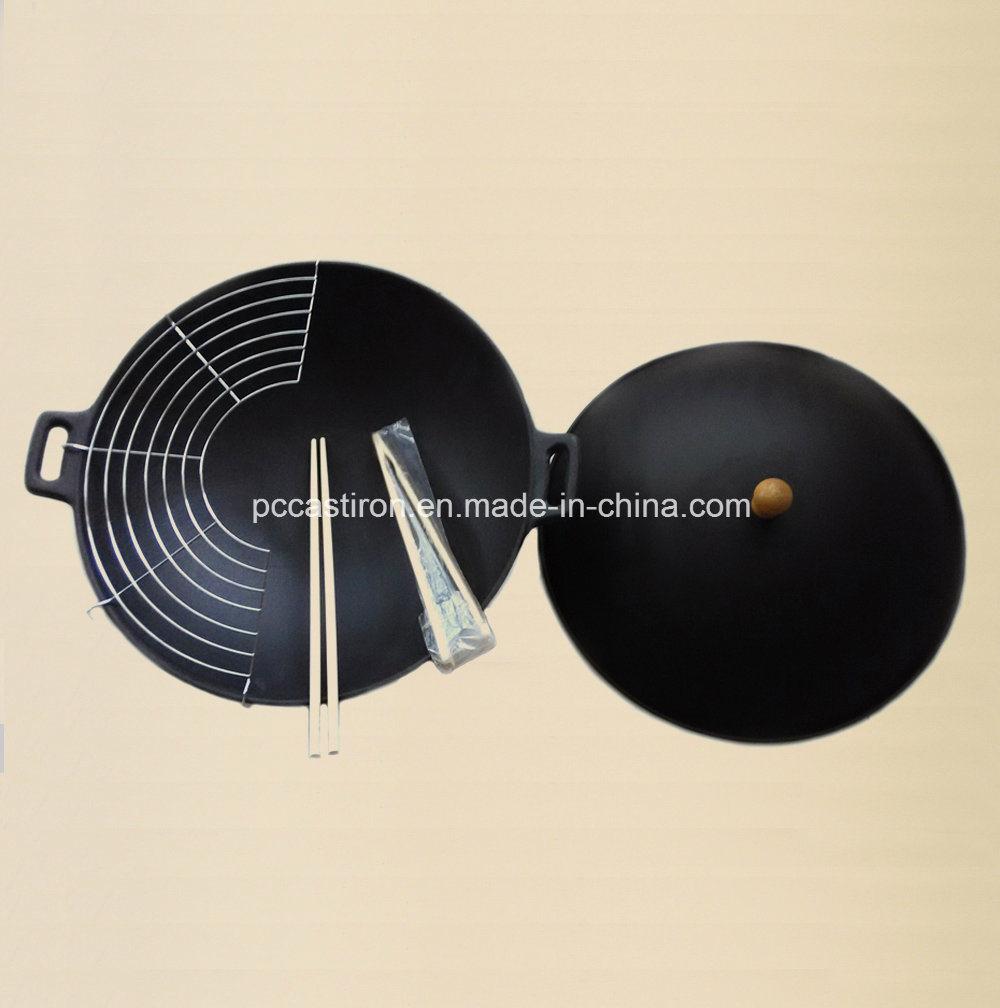 China Factory Enamel Cast Iron Chinese Wok Dia 25cm