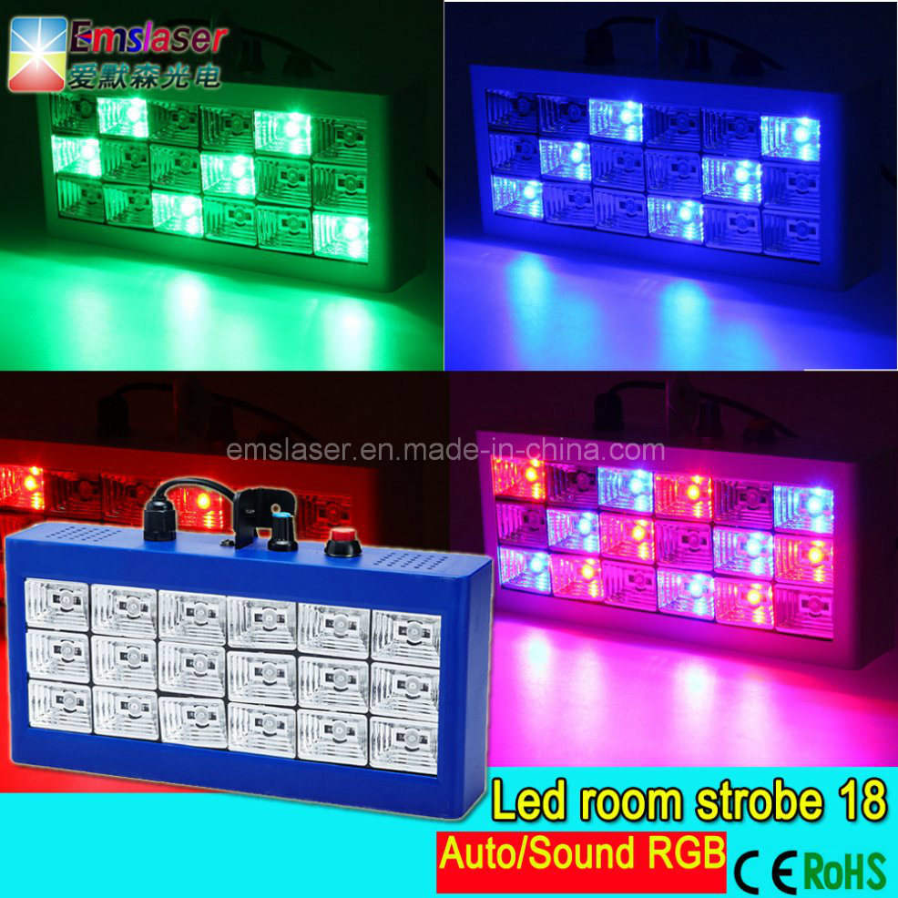 Mini Sound Control 18 RGB LED Disco Party Light Show LED Strobe Lamp Home Entertainment Projector Lighting