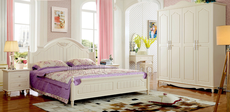New American Style Wooden Bed for Bedroom Furniture (A105)