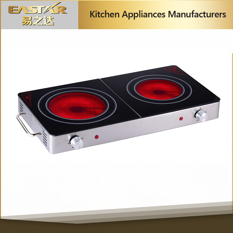 Double Burner Ceramic Glass with Infrared Cooker