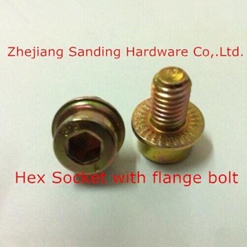Gr8 Yellow Zinc Plated Hex Flange Socket Bolt