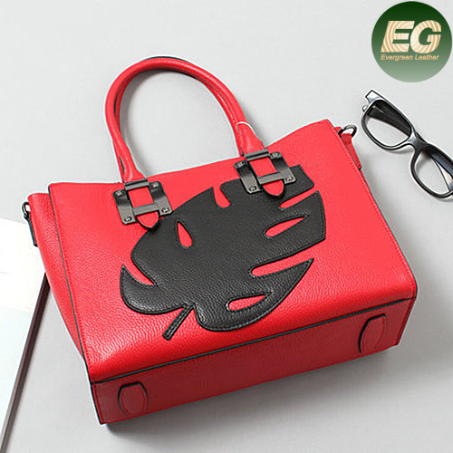 Genuine Leather Designer Ladies Handbag Lady Bag Soft Leather with Leaf Emg4884