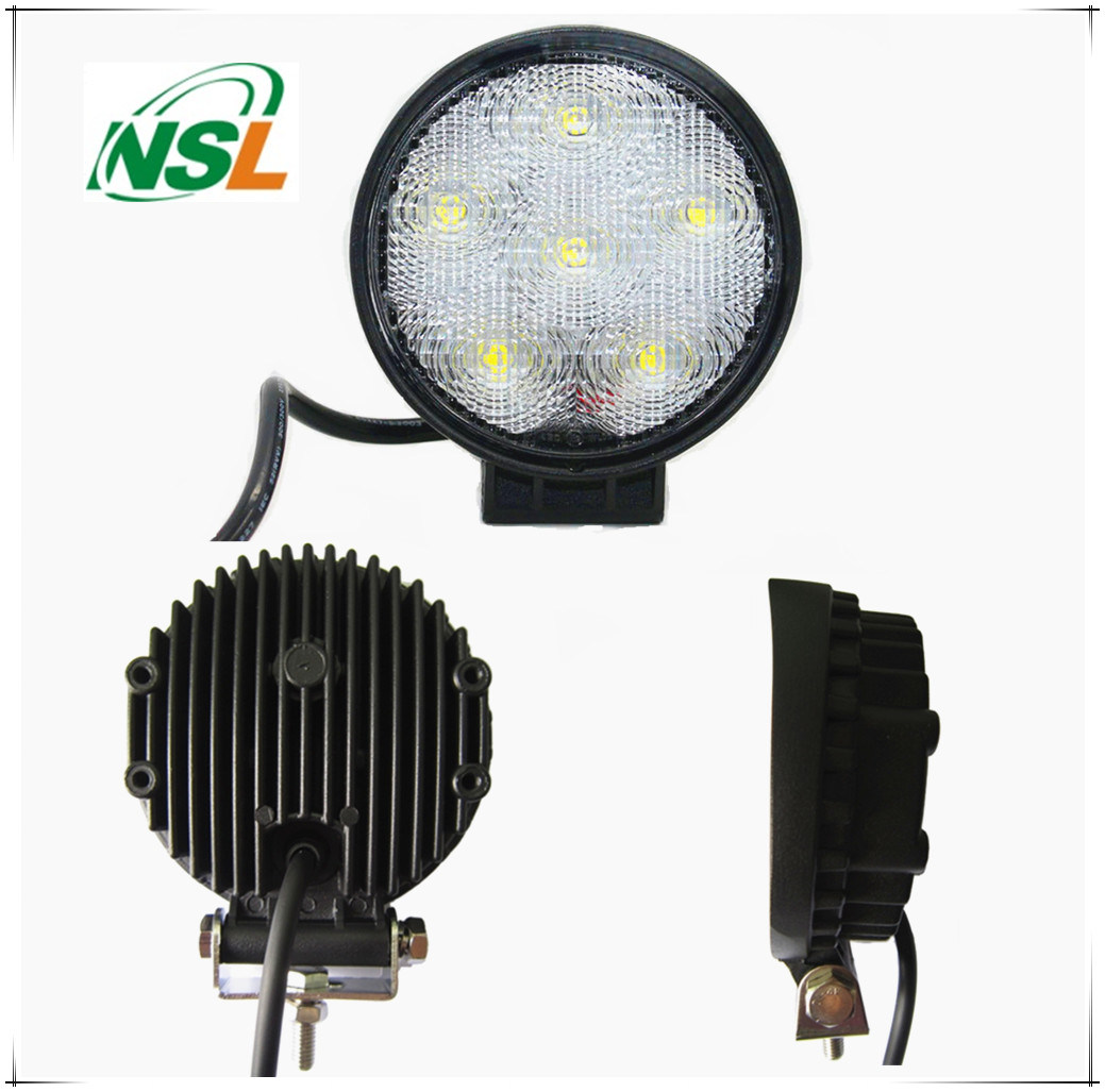 18W LED Round Flood/Spot Lamp Car Offroad Truck SUV 4WD Fog Driving off Auto Spare Parts, Waterproof 12V 24V Lighting Lamp