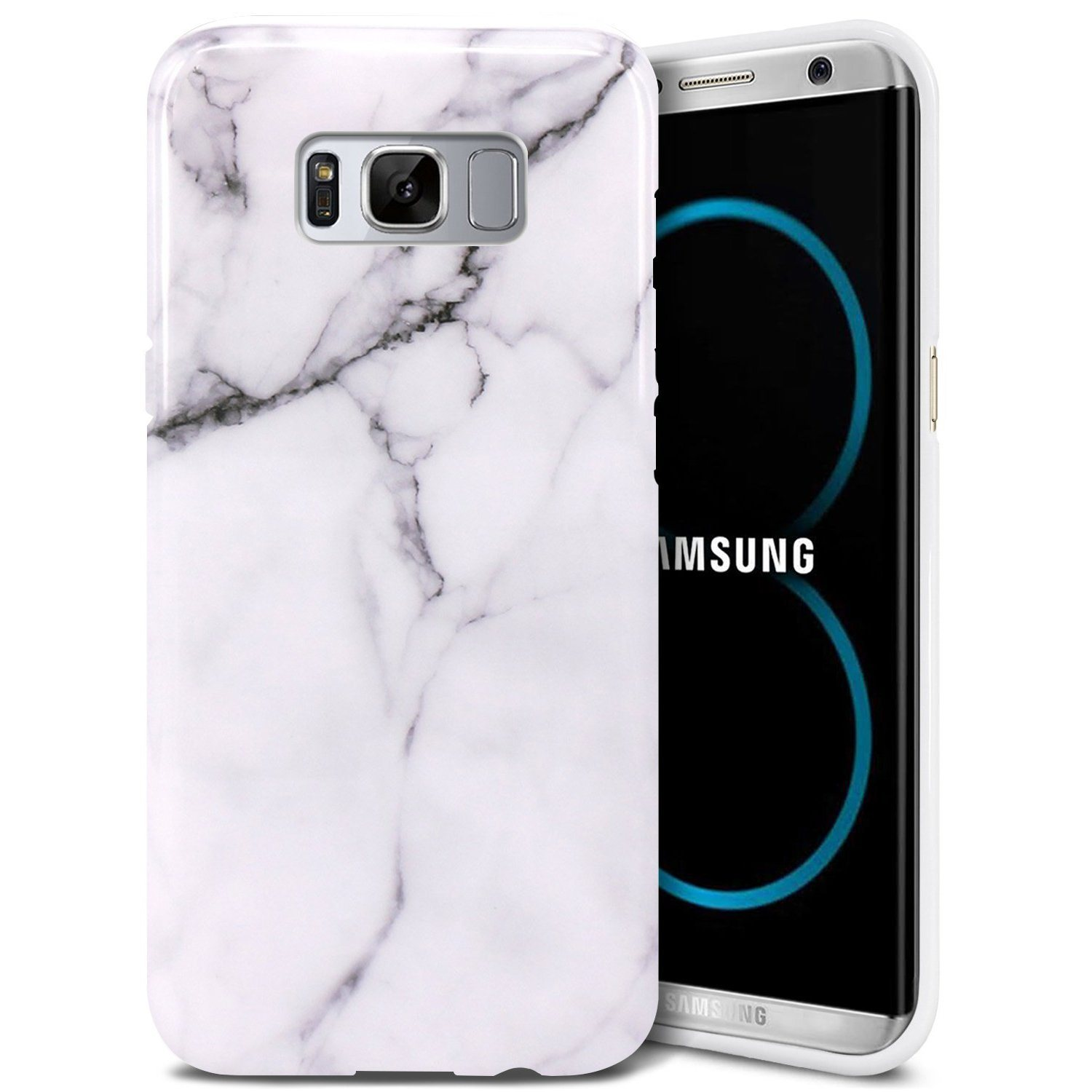 Marble White Slim Shockproof Flexible TPU Soft Rubber Skin Cover for Samsung Galaxy S8