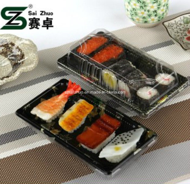Floral Printed Top Grade Disposable Plastic Sushi Container (S01)