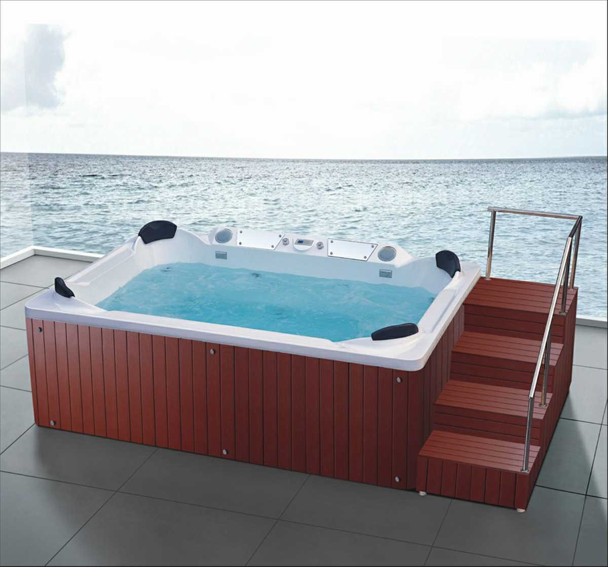 3560mm Square Free Standing Outdoor SPA for 8 Persons (AT-9007)