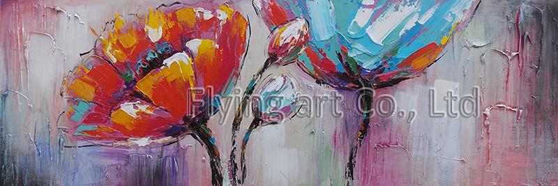 Handmade Palette Knife Modern Flower Oil Painting on Canvas