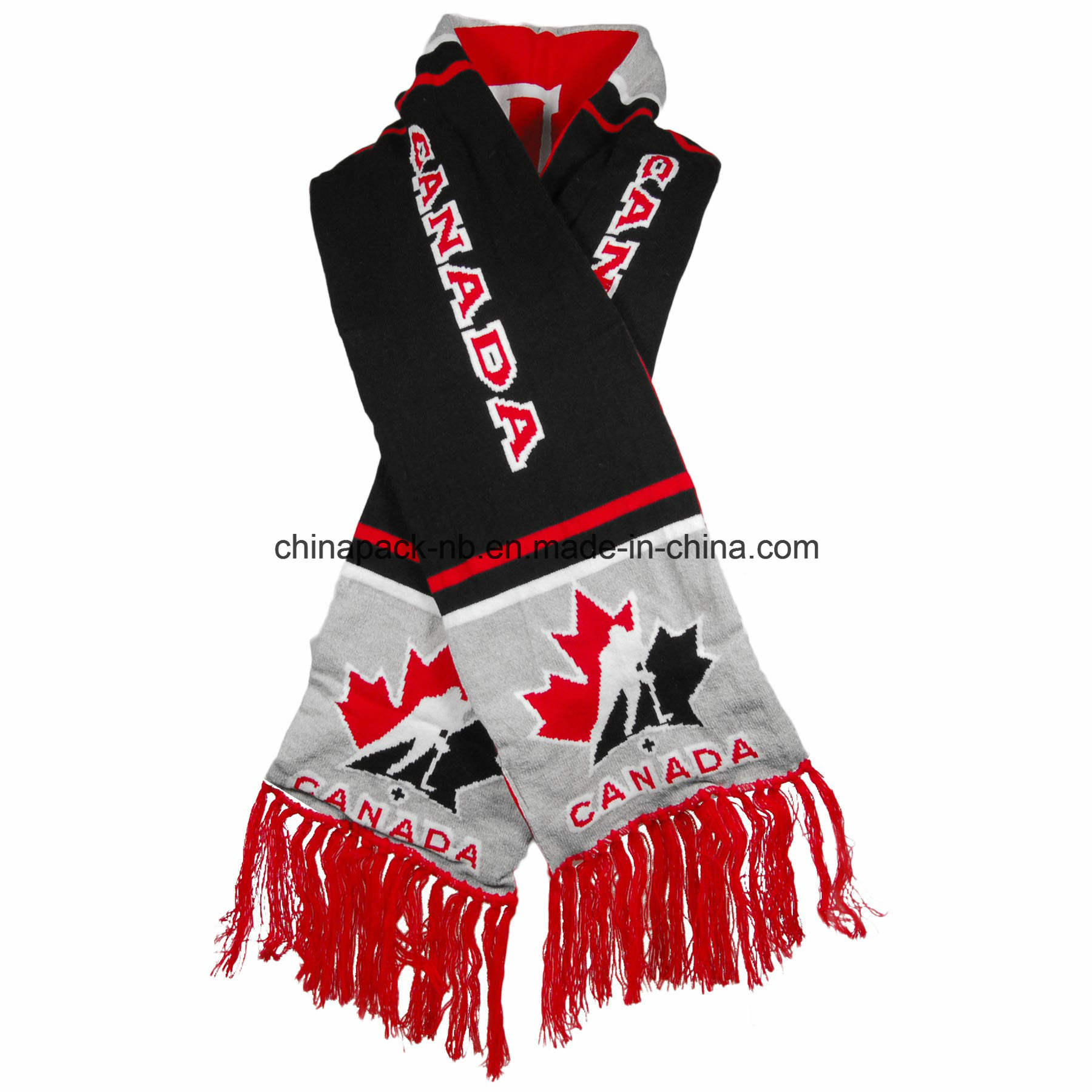Double Layer Team Canada Reversible Fan Knit Scarf (CPAS-1001)