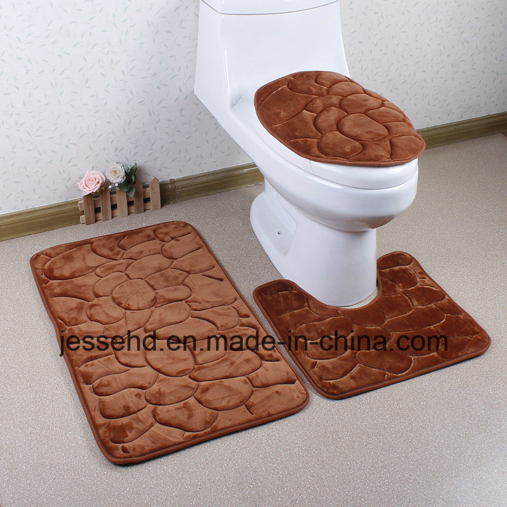 Waterproof and Anti-Slip Bath Mat 3PCS Bathroom Rug Set