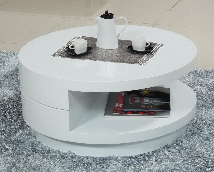 New design white high glossy livingroom round coffee table a544