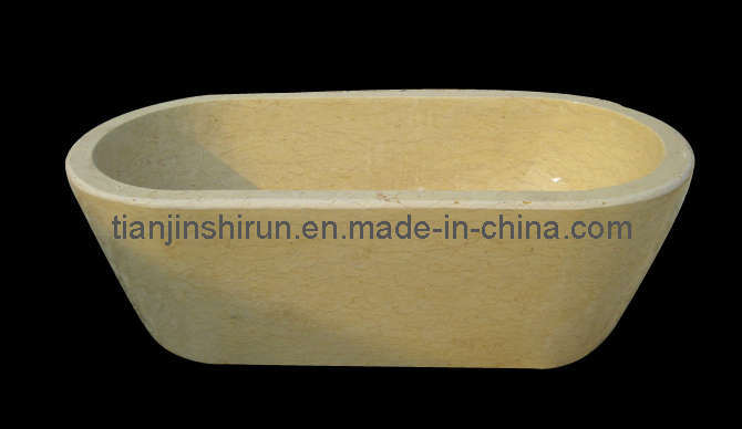 Yellow Marble Carving Stone Bathtub (BTB302)