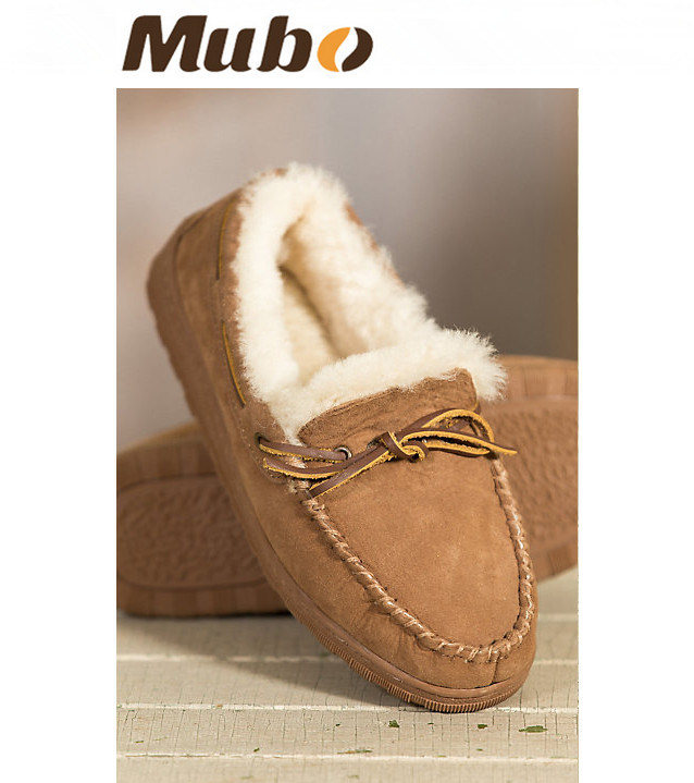 Men′s Leather Sheepskin Moccasin Slippers