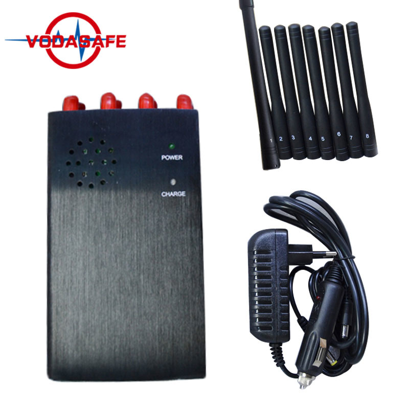 China 8 Antenna VHF/UHF +3G Mobile Phone Signla Jammer/Blocker with Portable Strong Box - China 8 Bands Jammer, VHF/UHF Jammer