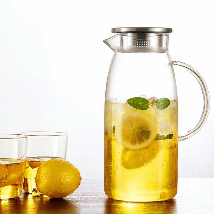 Fruit Juice Glass Pot Set Glassware Pitcher Coffee Tea Jug