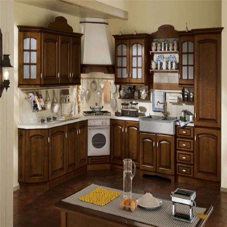 Antique Brown Solid Wood Kitchen Furniture