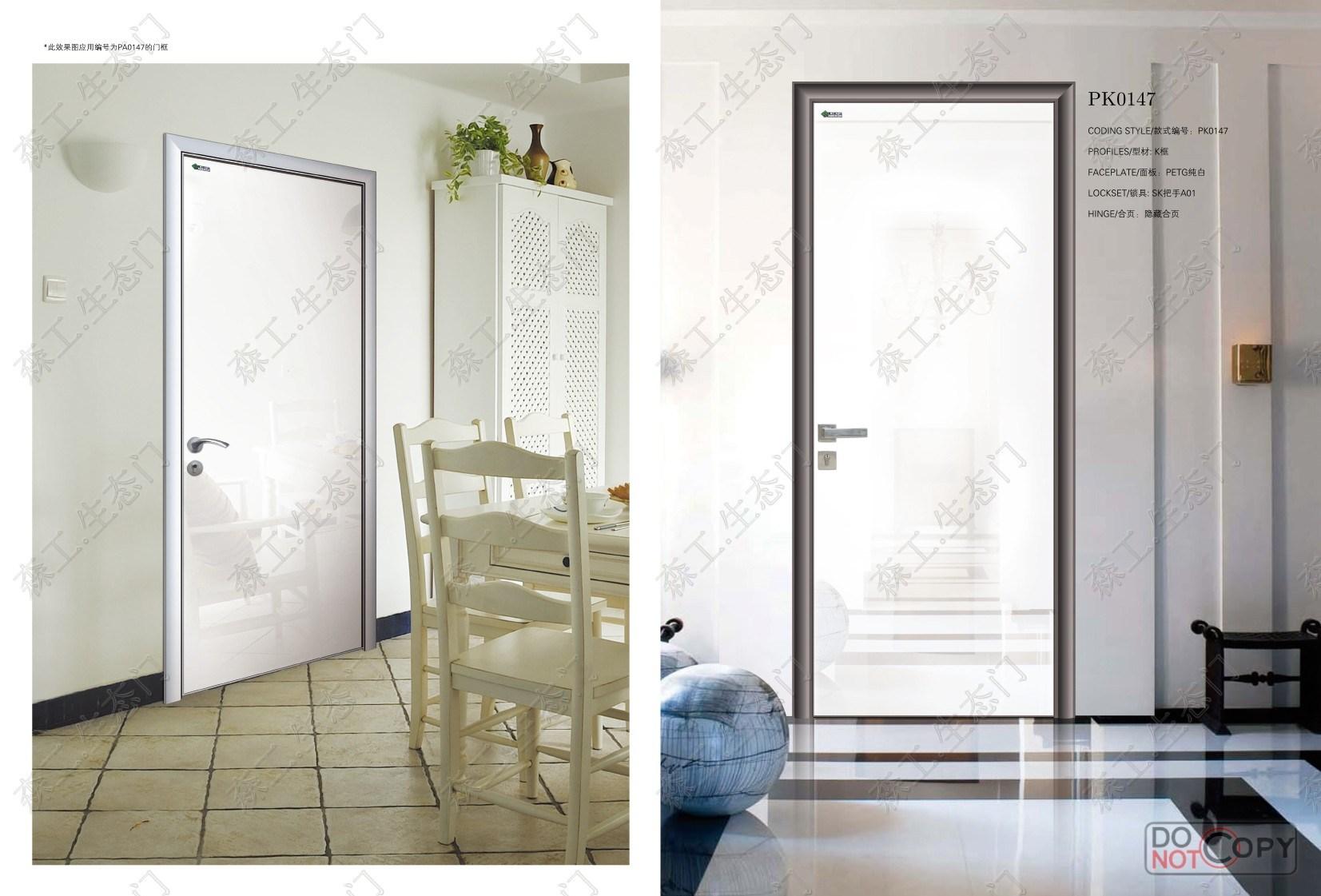 Fireproof Entry Door, White Swing Door, Glossy Bedroom Door