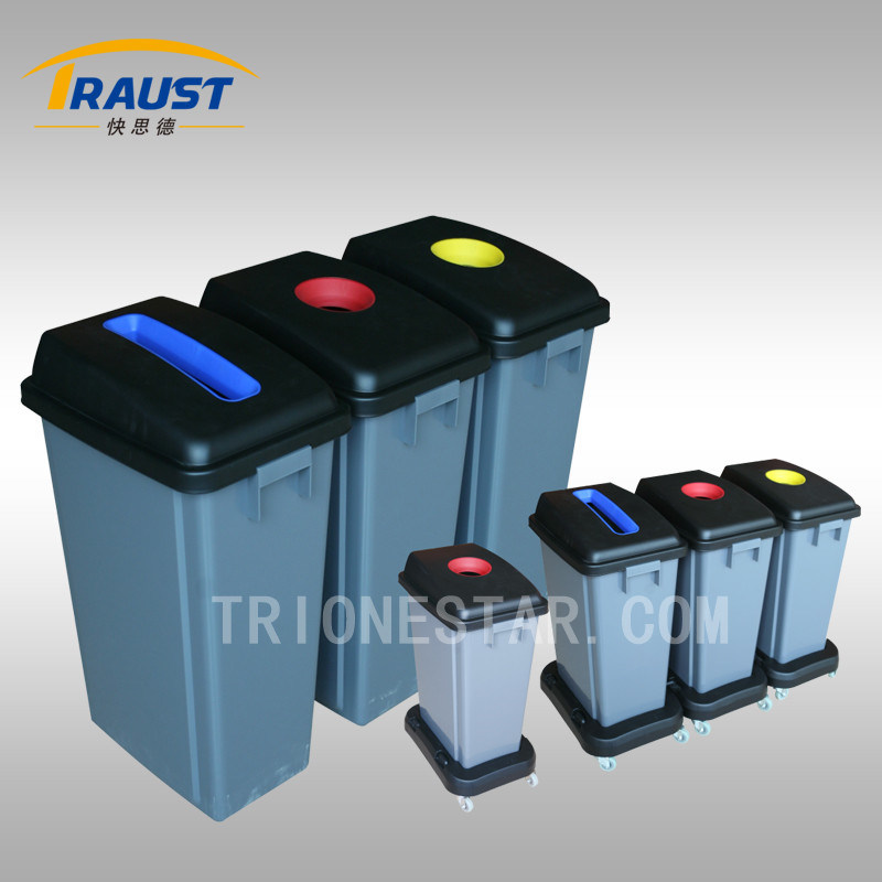 Outdoor Plastic Trash Bin with Wheel Base