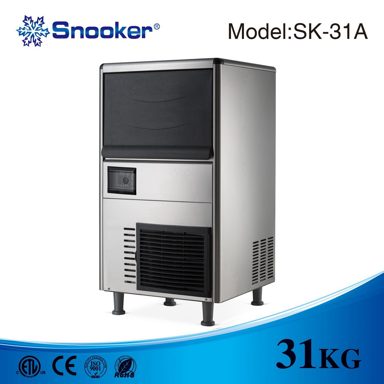 Snooker 304 Stainless Steel Commercial Ice Maker Ice Machine of 500kg/24h