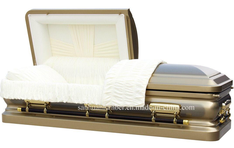 18ga Gloden Brush Steel Casket for Funeral