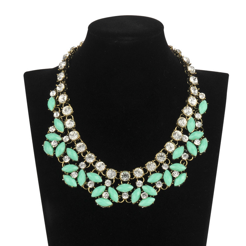 Turquoise Stone with Diamonds Necklace (XJW13608)