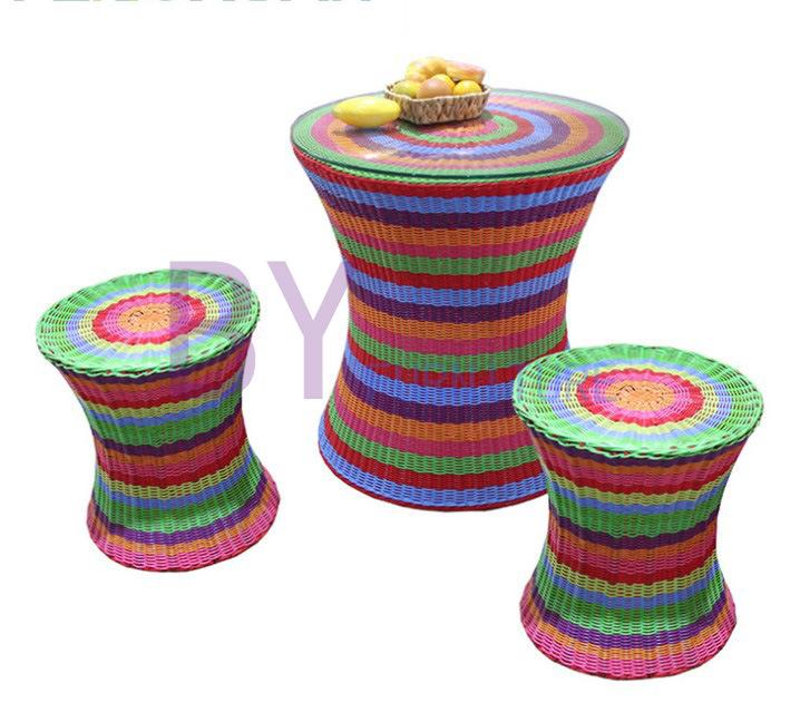 New-Style Rainbow Round Rattan Three-Piece Garden Home Furniture